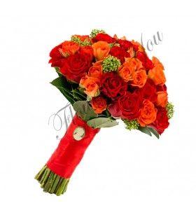 Buchete de mireasa trandafiri corai