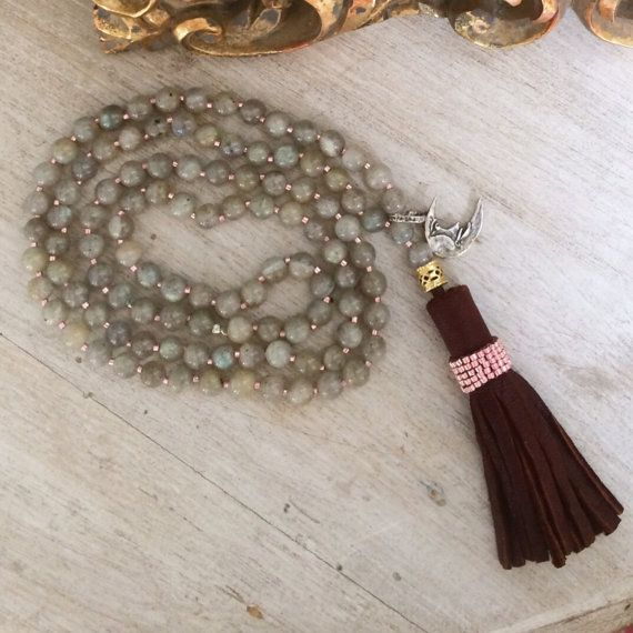Labradorite Mala 108 beads meditation necklace. by BijouxaLaCarte