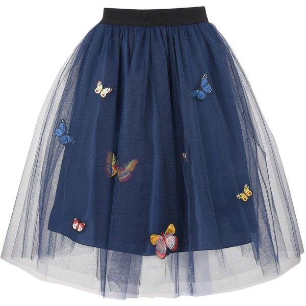 George J. Love 3/4 Length Skirt ($120) ❤ liked on Polyvore featuring skirts, bottoms, dark blue, flare skirt, blue flared skirt, dark blue skirt, elastic waist skirt and flared skirt