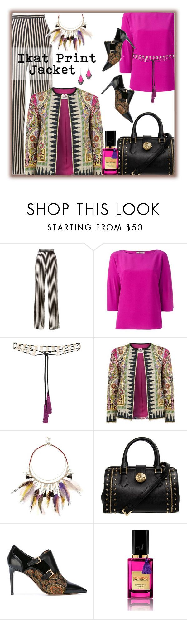 """""""Etro Ikat Print Jacket"""" by franceseattle ❤ liked on Polyvore featuring Etro, River Island, Versus, Diana Vreeland and NOVICA"""