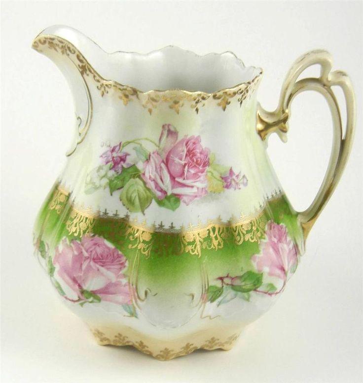Antique MZ Moritz Zdekauer Austria Porcelain Water/Lemonade Pitcher Pink Roses #MoritzZdekauer