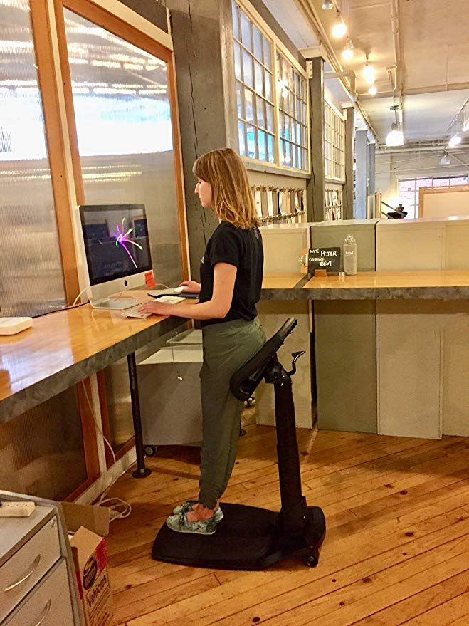 Amazon Com Best Standing Desk Chair For Active Seat And Proper Posture Leanrite Elite Ergonomic Back Standing Desk Chair Best Standing Desk Standing Desk