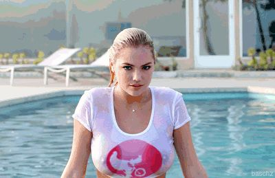 Kate Upton wet t-shirt GIF (click to see animation)