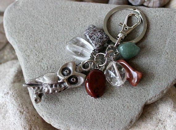 Owl Keychain Gemstone Keychain Chakra Keychain Owl Bag