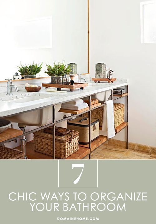 7 Chic Ways to Organize Your Bathroom // storage, organization, bathroomsIdeas, Open Shelves, Modern Bathroom, Bathroom Storage, Industrial Bathroom, Beautiful Bathroom, Modern Industrial, Design, Open Shelving