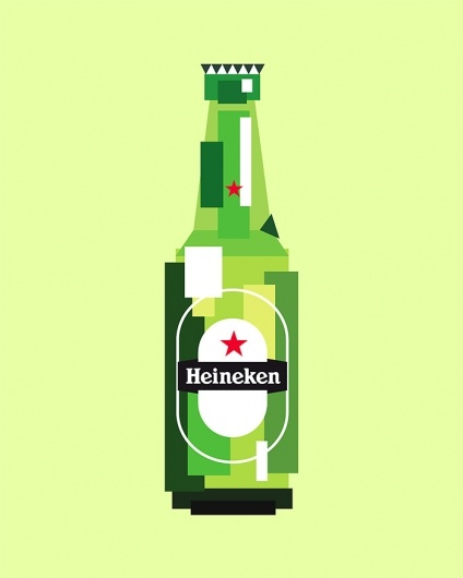 Heineken: Graphics Design Illustrations, Pixelart, Daily Inspiration, Designart, Posters Design, Beer Bottle, Design Art, Geometric Shape, Pixel Art