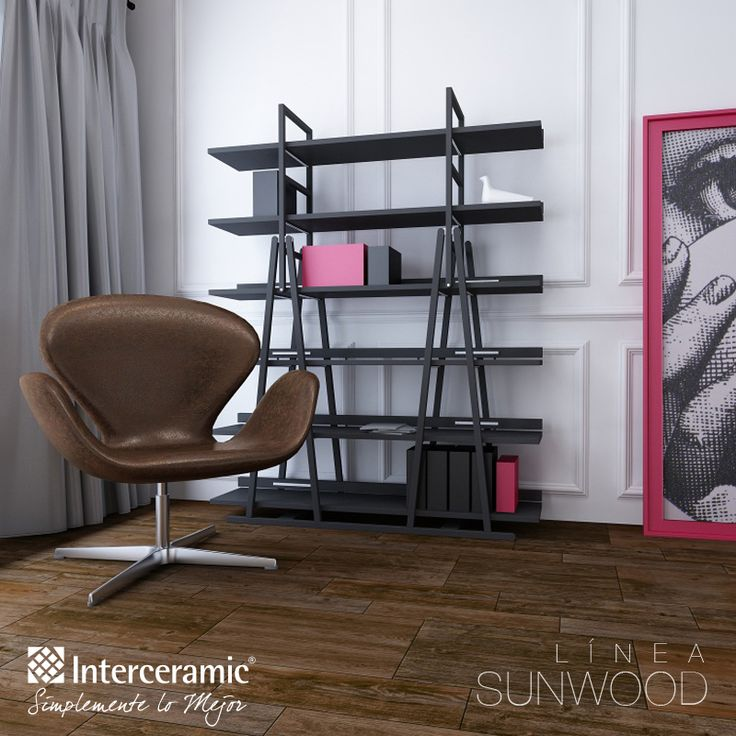 El piso #marrón aporta serenidad y elegancia a los espacios, destácalo con luz natural y aumenta la armonía combinándolo con tonos claros u obscuros del mismo color. Línea Sunwood de #Interceramic, piso cowboy brown esmaltado.
