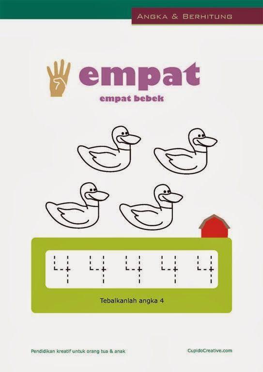 belajar angka paud (anak balita/TK), berhitung 1-10, mewarnai gambar bebek