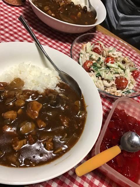 #晩ごはん #dinner #きのこたっぷりカレー #ツナきゅうりオニオンちくわサラ...|SHOOP+FACTORY(シュープ・ファクトリー)@オーナーブログ