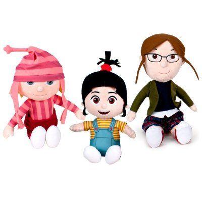 Las niñas de Gru, de los Minions, tienen un papel divertido en la última película, Gru 3. La pequeña , Agnes,sueña con encontrar un Unicornio... Yo también! La mediana, Edith, es la traviesa y, la mayor, Margo, es la adolescente...  Miden unos 28-30cm.Puedes comprarlas en www.vuvalu.com #MuñecosMinions #NiñasGru #Minions #ComprarOnline #PeñaNiños #Vuvalu