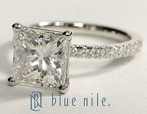Petite Pave Princess Cut Diamond Engagement Ring in Platinum BlueNile (my dream