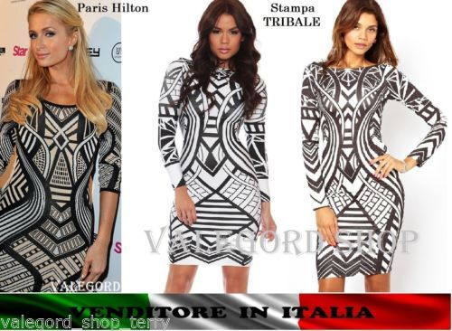 Abito-tubino-PARIS-HILTON-geometrico-tribale-etnico-ELEGANTE-dress-contrasto-sex