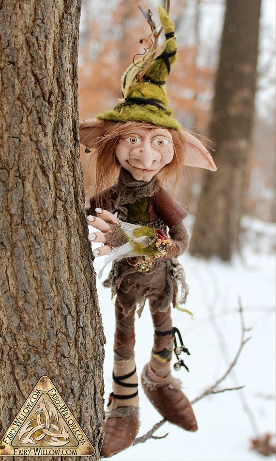Nog, Christmas/Woodland Elf OOAK Art Doll VERY REALISTIC, Custom hand made, soft posable flexible silicone rubber face ears and hands