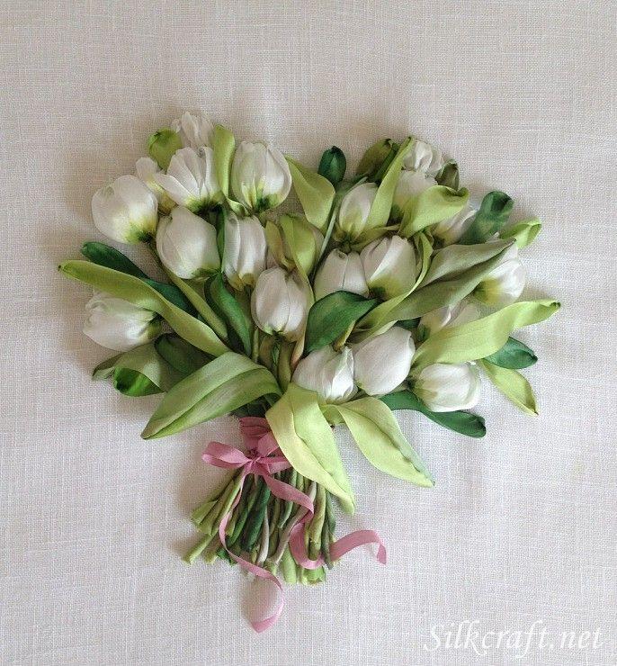 Silk ribbon embroidery tikkimine pinterest white