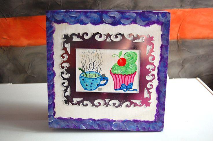 """Boite à Thé """"Violet Abstract"""" avec sticker miroir-cadre , peinte à la main : Boîtes, coffrets par smithycreations"""