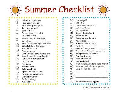 Summer Fun Checklist: Checklist Ideas, For Kids, Kids Bloggers Network, Summer Ideas