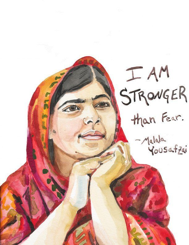Malala Yousafzai portrait and inspiring quote. Painted by yours truly and reproduced on high quality art paper with my Epson Printer. (your print is going to be so crisp and bright, with whites whiter