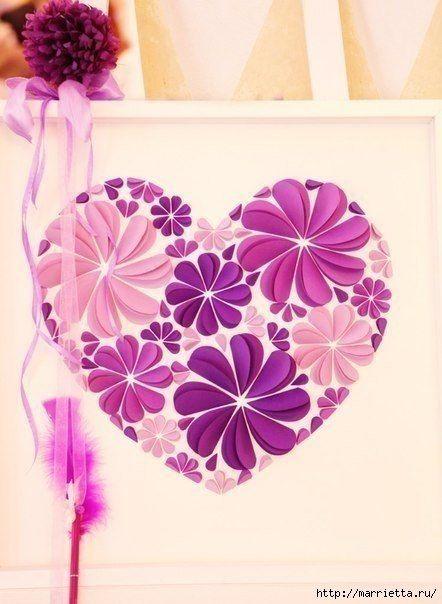 Easy paper heart flower wall art01