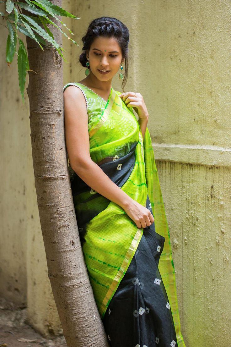 Black and lime green bandhani print silk kota saree with zari border  #saree #blouse #houseofblouse #indian #bollywood #style #black #green #limegreen #white #silk #kota #bandhani #shibori #zari #border
