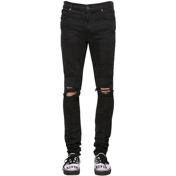 Rta Men 16.5cm Skinny Destroyed Denim Jeans ($525) ❤ liked on Polyvore featuring men's fashion, men's clothing, men's jeans, black, mens distressed jeans, mens destroyed jeans, mens skinny jeans, mens super skinny ripped jeans and mens jeans