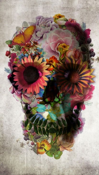 Sugar skull tattoo—Oh I know who can make this into a real floral piece ;)