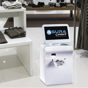 All-in-one POS Communication System with Integrated Printer, Endless Aisle Kiosk Solution, Fast Food Ordering Point, Point of Interaction Terminal, Loyalty & Coupon Redemption Kiosk, Ticket Collection Service -  the first of its kind on the market, the AsuraCPRNT ™ is at the forefront of the next generation in retail technology