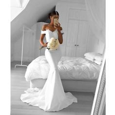 White Off Shoulder Mermaid Sexy Lace Top Long Bridesmaid Dresses, BG51548