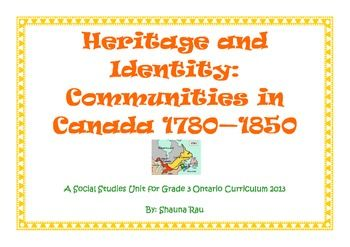 Grade 3 Ontario Heritage and Identity Unit