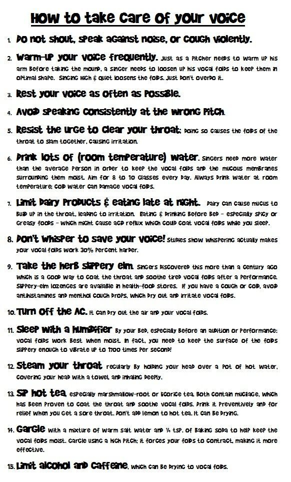 HOW TO TAKE CARE OF YOUR VOICE (will fit on legal size paper)