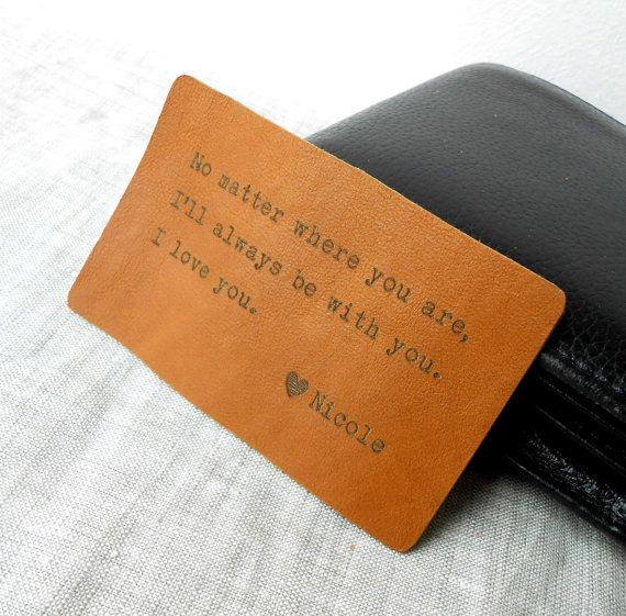 Leather Wallet Insert, Custom Wallet Card, 3rd Leather Anniversary Gift, Mens Gift, Personalized Mens Wallet Insert on Etsy, $14.00