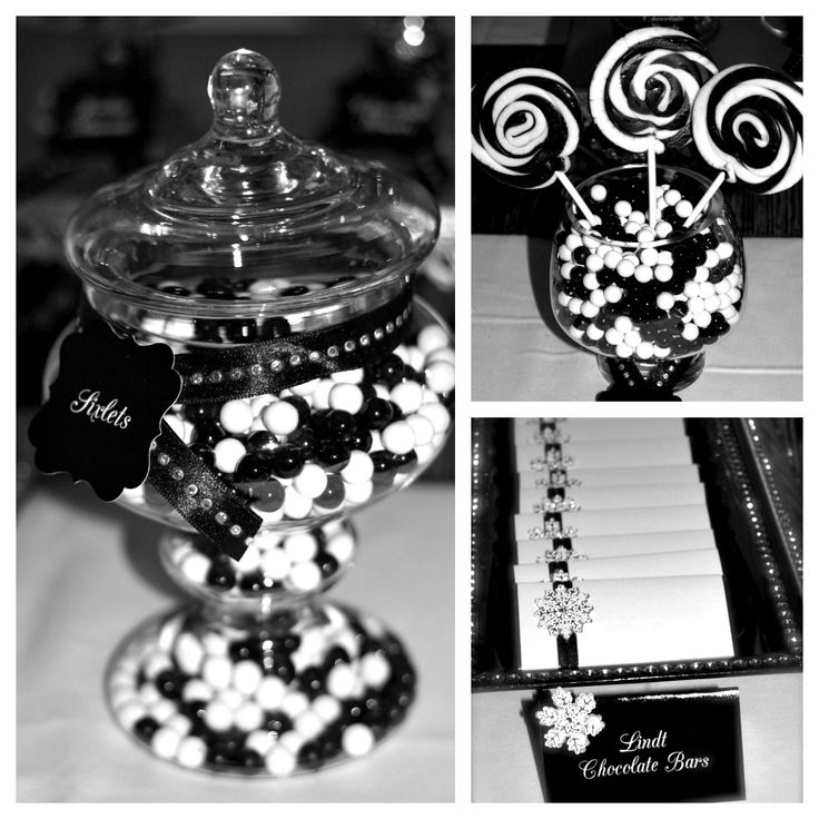 Black and white tablescapes ideas black white candy for Black and white tablescape ideas