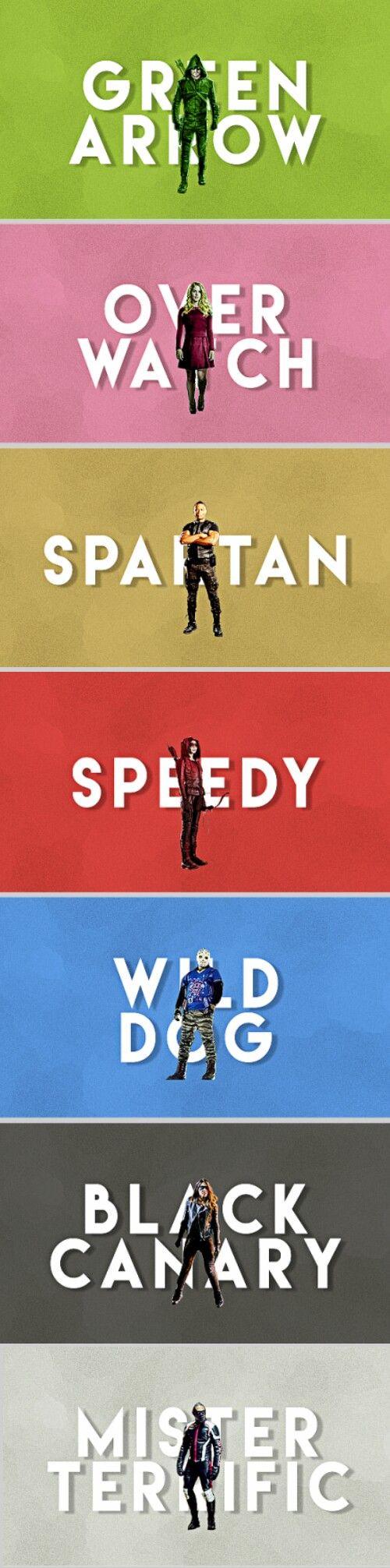 Team Arrow | Green Arrow - Overwatch - Spartan - Speedy - Wild Dog - Black Canary - Mister Terrific #season5 #arrow #cw