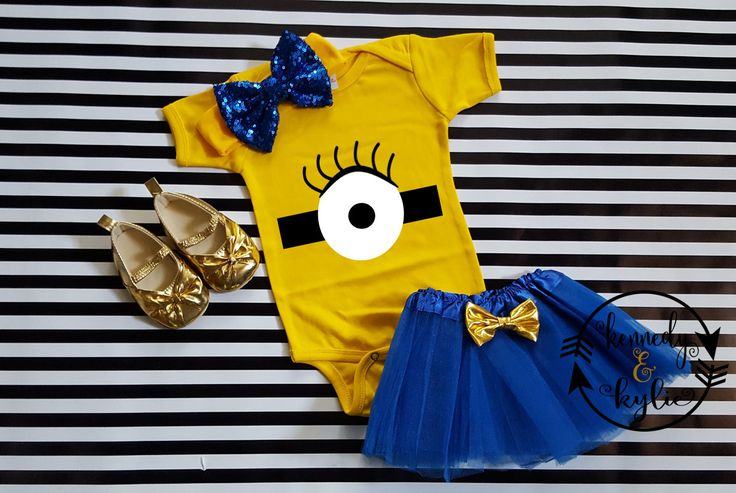 Cute Minion Birthday Tutu Costume For Baby Girls and Little Girls 0-3 months to Size 6Let us add a little or a lot of shine to your little minion's birthday or Halloween party with our trendy glitter Minion inspired birthday tutu costume designed by Kennedy and Kylie. This tutu outfit is absolutely adorable that we had to add it to our collection of items we offer to our customers.  Its designed with a very soft yellow cotton shirt and an elastic tulle tutu skirt. The face is designed with…