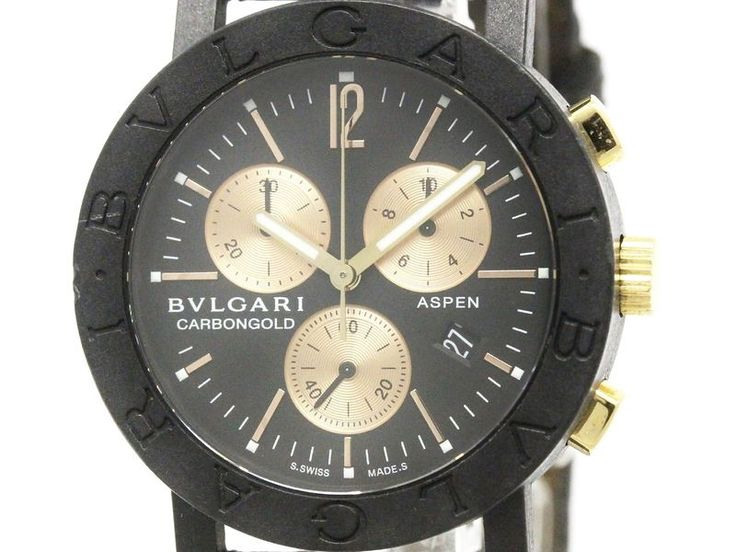 #BVLGARI Carbon Gold Chronograph Aspen Quartz Unisex Watch BB38CLCH (BF110417): #eLADY global accepts returns within 14 days, no matter what the reason! For more pre-owned luxury brand items, visit http://global.elady.com