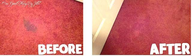 homemade carpet stain cleaner Spray bottle with 1 part ammonia & 1 part HOT water, spray it LIBERALLY on the stain, lay a clean white towel on top of it and start ironing away with the iron on the steam setting. Be prepared to use several white towels, as the stain will wick into them and you need to keep replacing with clean ones until it is gone.  Supposed to work on old stains, too.