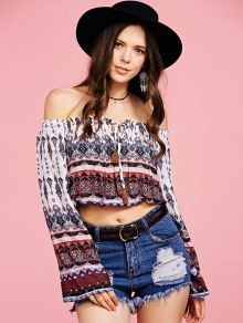 Tribal Print Off The Shoulder Cropped Blouse - COLORMIX S