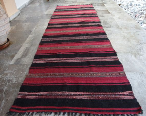 Ruspberry and Black!!! #Antique Anatolian #Kilim Runner #Rug Striped by VintageHomeStories #Rustic #Home #Decor #Floor #Bordeaux #Pink