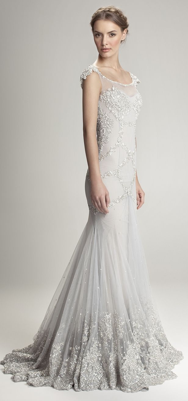 Fancy this in blush would be my dream dress Gorgeous silver grey wedding gown with silver beaded detailing