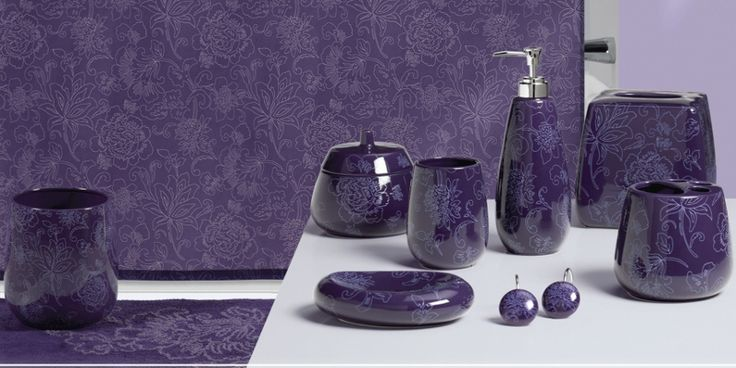 Ceramic purple bathroom accessories for Matching bathroom accessories sets