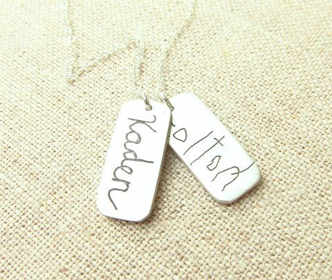 Actual Handwriting 2 Rectangle Necklace