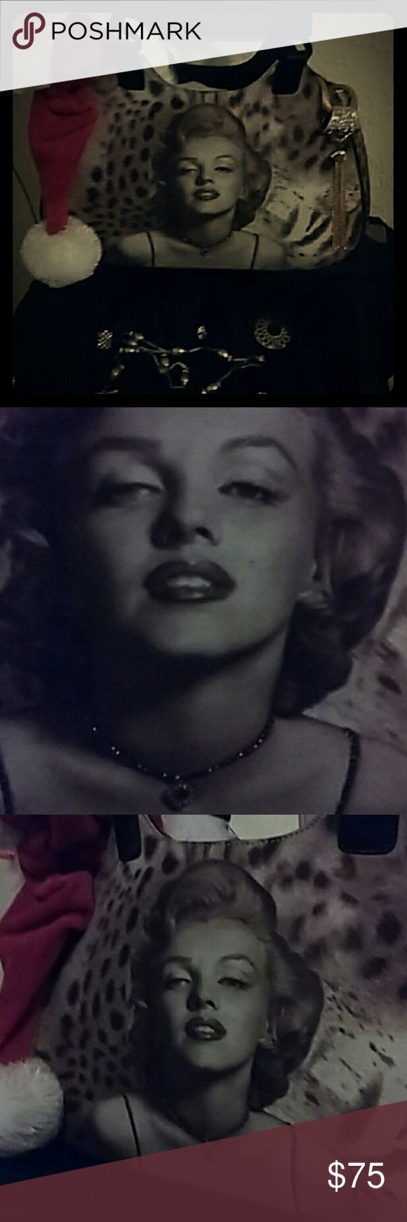 Purse NWOT Original Marilyn Monroe Rhinestone tailored necklace & spaghetti straps.  Soft woven Leopard tote bag, with leather strapped handles, never used, clean inside and out. & Other Stories Bags Totes