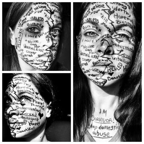 """""""Project Unbreakable is a photography project aiming to give a voice to survivors of sexual assault, domestic violence, and child abuse, featuring photographs of survivors holding posters with quotes from their abusers."""""""