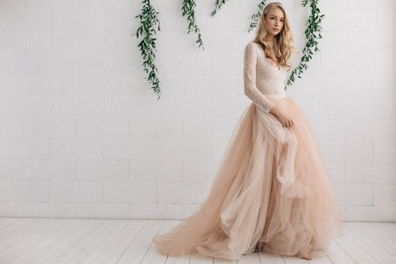 Champagne Nude Ivory Wedding  Dress, Two Piece Wedding Dress,  Alternative Wedding Dress , Long Sleeve Tulle Dress - Melanie
