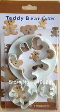 Factory Wholesale Teddy Bear shape cake cookies machine plunger paste sugar craft decorating tools 10sets/lot(China (Mainland))