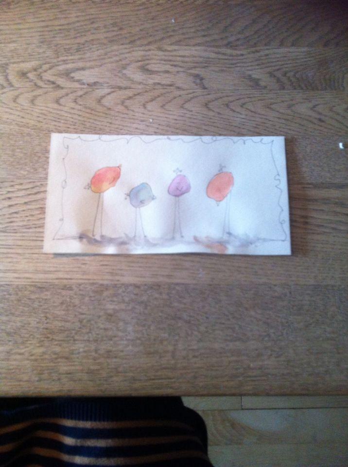 Kyllinger med vandfarver - chickens with watercolor