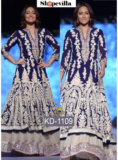 Sonakshi Blue Heven Lehenga Style Gown-KD-1109