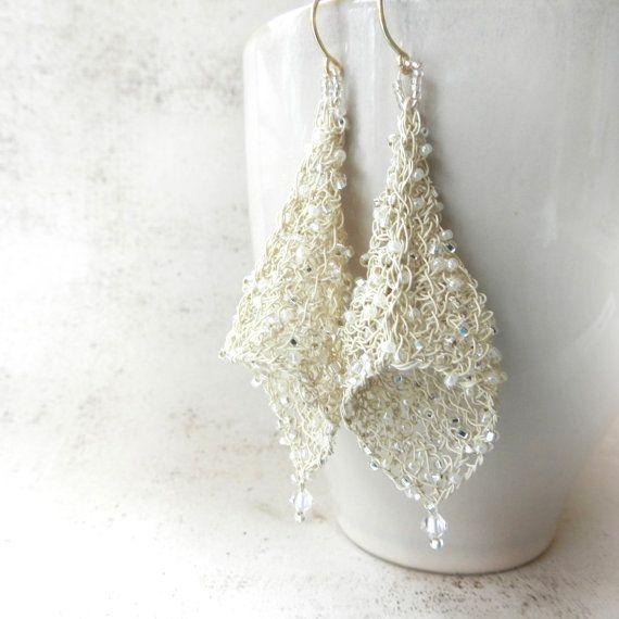 Wire Earrings, Bridal Earrings, Wire Crochet Jewelry, Wedding Jewelry, Renaissance Jewelry, Antique White Jewelry, Ivory Beaded Earrings