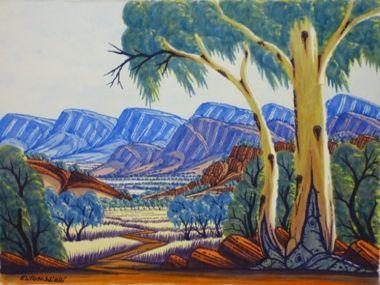 Elton Wirri Petermann Ranges Watercolour on paper 26 x 36 cms