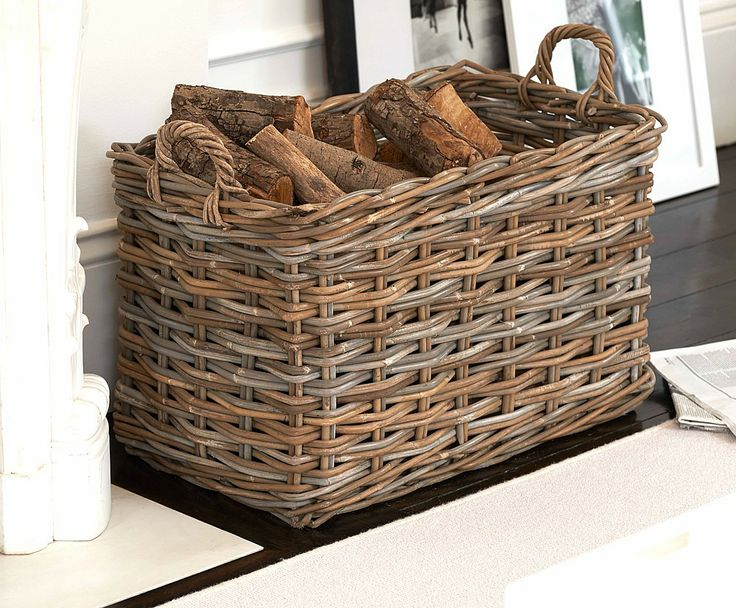 Rattan Storage Basket With Loop Handles