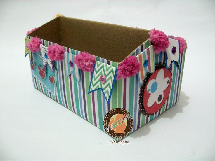 Caja de barras de cereal alterada como organizador - Colección Shabby Chris - Hoja Líneas